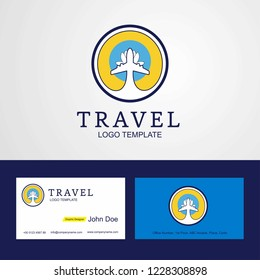 Travel Kalmykia Creative Circle flag Logo and Business card design