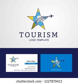 Travel Kalmykia flag Creative Star Logo and Business card design