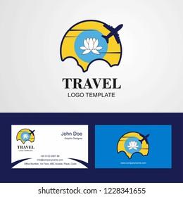 Travel Kalmykia Flag Logo and Visiting Card Design