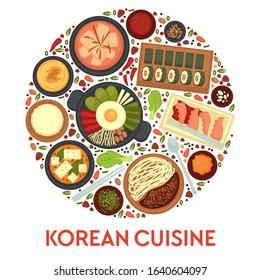 Travel to Korea, Korean cuisine traditional dishes and meals vector. Kimchi soup and rolls, hobak juk and bibimbap, jajangmyeon and octopus. Rice and seaweed, konggunksu, national cooking and culinary