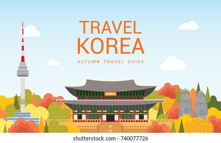 Travel Korea template vector illustration, Colorful autumn mountains with tower and traditional Korean palace.