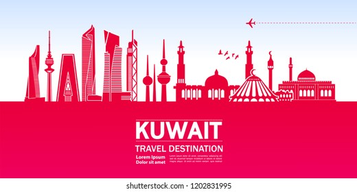 Travel to Kuwait vector.