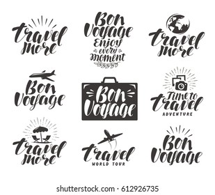 Travel, label set. Journey icons or symbols. Lettering vector illustration
