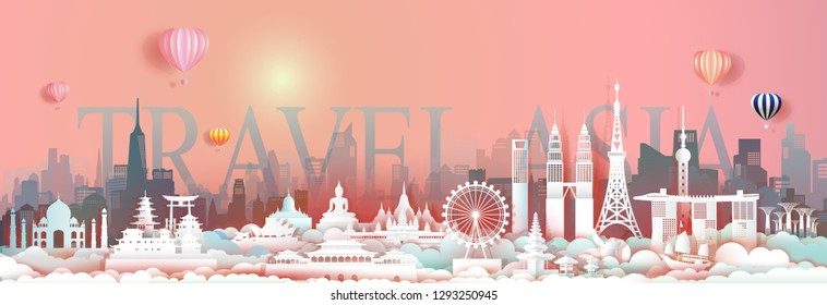 Travel landmark Asia with downtown cityscape skyline and asean tourism,Traveling landmarks city capital by balloon, Travel world to Asia, For poster and postcard, Vector illustration origami paper.