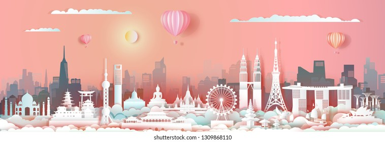 Travel landmark Asia with downtown cityscape skyline and asian tourism,Traveling landmarks city capital with sunrise, Travel world to Asia, For poster and postcard, Vector illustration origami paper.