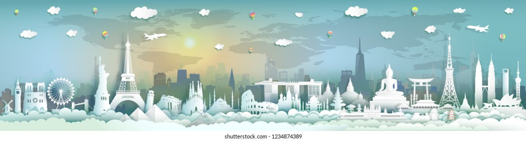 Travel landmark by plane and balloon, Tourism landmarks world with city background,Tour with sunrise sunset panoramic landscape,Paper cut origami, For travel poster and postcard.Vector illustration.