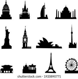 Travel Landmark Icons - Silhouette Vector stock illustration isolated in white background