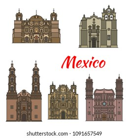 Travel landmark of mexican roman catholic architecture icon set. Temple of Saint Pedro Apostol, Aguascalientes and Oaxaca Cathedral, Basilica of Our Lady of Solitude and Zacatecas Cathedral