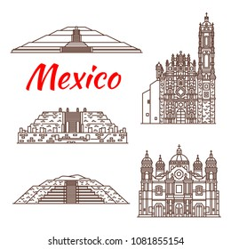 Travel landmark of Mexico thin line icon. Ancient Mexican Aztec Pyramid of Quetzalcoatl, Pyramid of the Sun and Pyramid of the Moon, St Francis Xavier Church and Basilica of Our Lady of Guadalupe