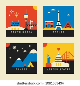 travel landmark postcard concept vector illustration flat design