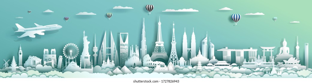 Travel landmarks architecture world with turquoise background, Important architecture monuments of the world, Tourism with panorama paper cut style for travel poster and postcard, Vector illustration.