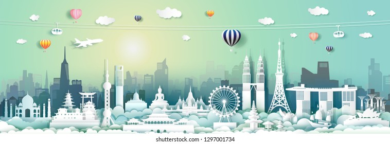 Travel landmarks Asia with cityscape skyline and tourism asean,Traveling landmark capital city by balloon airplane, Travel world to Asia,Origami paper style for poster and postcard,Vector illustration
