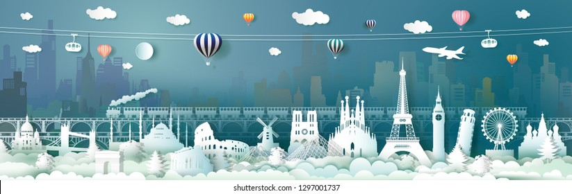 Travel landmarks of Europe with train, balloon, Traveling the world, Famous architecture panorama landmark cityscape, Popular capital, Origami paper cut style for postcard, poster,Vector illustration.