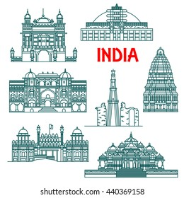 Travel landmarks of India thin line icons with Qutub Minar, Buddhist Stupa at Sanchi, Red Fort, Harmandir Sahib or Golden Temple, Virupaksha Temple in Hampi and Akshardham Temple