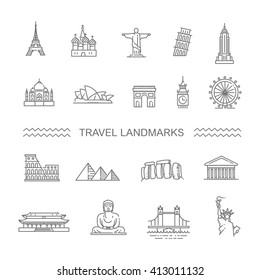 Travel landmarks line icon set