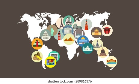 Travel landmarks on the world map
