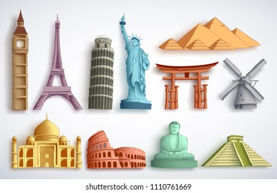 Travel landmarks vector illustration set. Famous world destinations and monuments of different city attractions for tourists and travelers in white background.