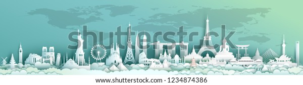 Travel landmarks world with world map background, Landmark architecture monuments of the world,Tourism with panoramic landscape paper cut style,Use for travel poster and postcard,Vector illustration.