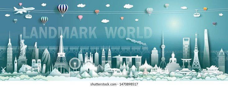 Travel landmarks world with modern and ancient architecture background, Tourism with panorama to america, europe, asia, australia, italy, spain, malaysia, indonesia, turkey, china, japan, cambodia.