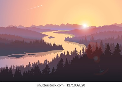 Travel landscape with a large river running among forested hills at sunrise. Vector illustration of beautiful places of untouched nature. Morning scene from national park, natural reserve