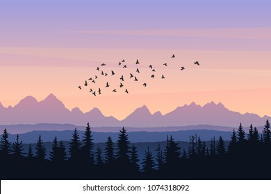 Travel landscape with silhouettes of mountains, forest, flying birds at sunrise. Vector illustration beautiful place of untouched nature. Scene from national park, natural reserve, wildlife sanctuary
