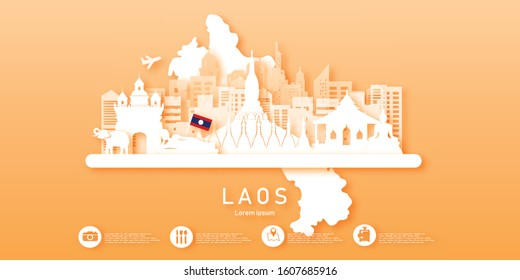 Travel Laos panorama postcard, poster, tour advertising of world famous landmarks in paper cut style. Vectors illustrations
