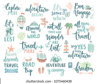 Travel Lettering Design Set - collection of motivation handwritings, trip, journey and adventure themes Vector illustration.