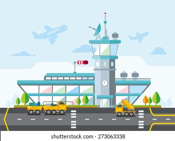 Travel Lifestyle Concept of Planning a Summer Vacation Tourism and Journey Symbol Airplane Airport City Modern Flat Design Icon Vector Illustration