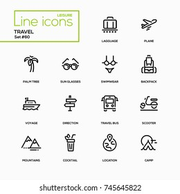 Travel - line design icons set. Cocktail, palm tree, plane, sunglasses, luggage, swimwear, luggage, backpack, voyage, direction, bus, scooter, mountains, location, camp