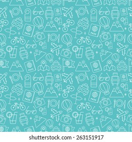 Travel line icon pattern set