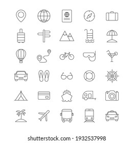 Travel line icons set. Vocation outline large collection. Tourism concept. Holiday summer concept. Vector isolated on white.