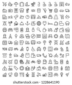 Travel line icons for web and mobile