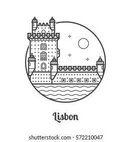 Travel Lisbon icon. Belem tower is one of the famous landmarks and tourist attractions in the capital of Portugal. Thin line portuguese fortress icon in circle.