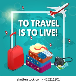 To travel is to live! Bag, passport, camera, tickets and Passenger airplane. Luxury vacation. Our travel destinations banner.