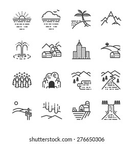 Travel locations line icon set. Included the icons as beach, forest, city, sea, country yard, waterfall and more.