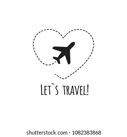 Travel logo. Heart and airplane. Vector illustration. Logo airplane. Isolated on white