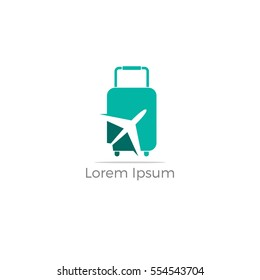 Travel logo, holidays, tourism, business trip company logo design. bag vector with airplane