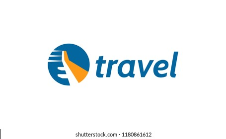 Travel logo with plane wing concept. Touristic, ticket company icon.