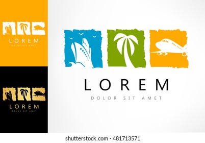 Travel logo. Ship, palm tree and an airplane vector.