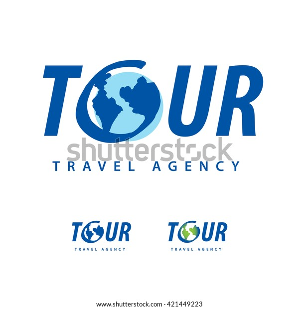 Travel Logo Template. with hand drawn element. Travel agency logotype with planet Earth. Tourism, trip, journey, adventure. Symbol, emblem, leisure center. Air Travel Logo. Many variation.