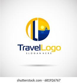 Travel  Logo template. Letter TL. Vector illlustration eps.10