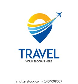 Travel logo template vector with travel pin and airplane