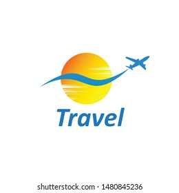 travel logo vector design template, with an airplane