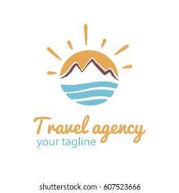 Travel logo. Vector logotype template for tour agency. Illustration of Sun, sea and mountains. EPS10. Tourist icon.