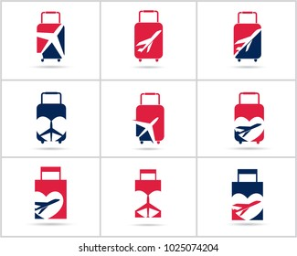 Travel logos set design. Ticket agency and tourism vector icons, airplane in bag and globe. Luggage bag logo, world tour illustration, plane in heart shape symbol.