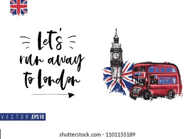 Travel London banner. Retro British promo card or flyer with red bus with Big Ben and text: let's run away to london. Postcard or poster design for tourists in London, Great Britain, UK.