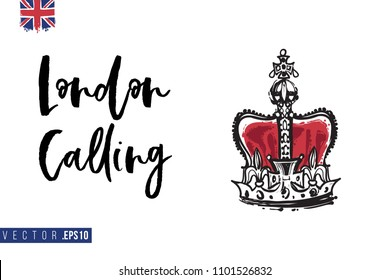 Travel London banner. Retro British promo card or flyer with crown of United Kingdom and text: london calling. Postcard or poster design for tourists in London, Great Britain, UK. Travel concept.