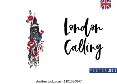 Travel London banner. Retro British promo card or flyer with Big Ben and roses and text: london calling. Postcard or poster design for tourists in London, Great Britain, UK. Travel concept.