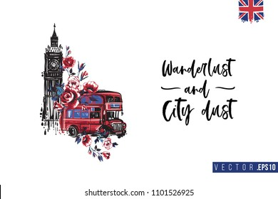 Travel London banner. Retro British promo card or flyer with Big Ben with red bus and text: wanderlust and city dust. Postcard or poster design for tourists in London, Great Britain, UK.