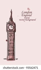 Travel to London, Big Ben, vector background